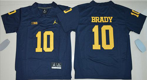 Wolverines #10 Tom Brady Navy Blue Jordan Brand Stitched Youth NCAA Jersey