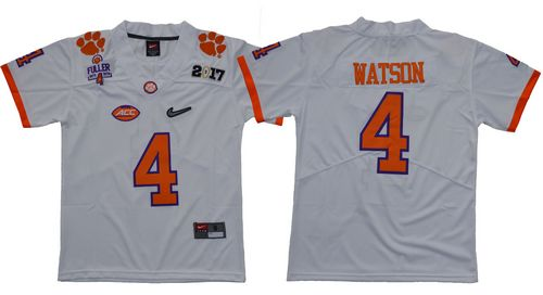 Tigers #4 Deshaun Watson White Diamond Quest Limited Stitched Youth NCAA Jersey