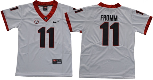 Bulldogs #11 Jake Fromm White Limited Stitched Youth NCAA Jersey