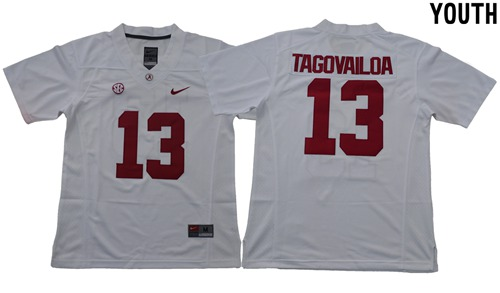 Crimson Tide #13 Tua Tagovailoa White Limited Stitched Youth NCAA Jersey